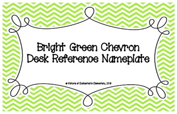 Bright Green Chevron Desk Reference Nameplates