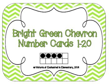Bright Green Chevron Number Cards 1-20