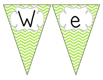 Bright Green Chevron Welcome Pennant