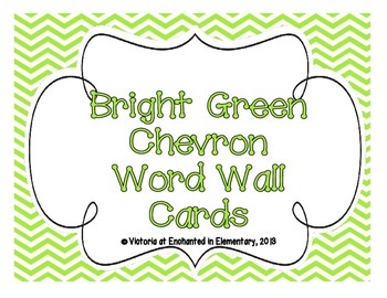 Bright Green Chevron Word Wall Cards