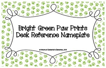 Bright Green Paw Prints Desk Reference Nameplates
