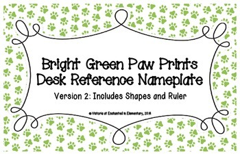 Bright Green Paw Prints Desk Reference Nameplates Version 2
