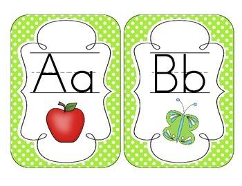 Bright Green Polka Dot Alphabet Cards