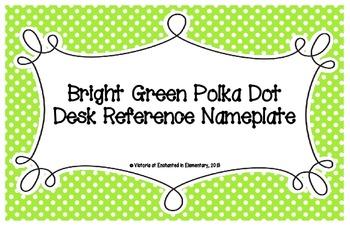 Bright Green Polka Dot Desk Reference Nameplates