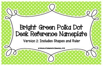 Bright Green Polka Dot Desk Reference Nameplates Version 2