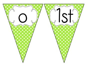 Bright Green Polka Dot Welcome Pennant