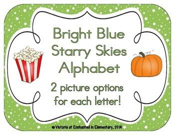 Bright Green Starry Skies Alphabet Cards