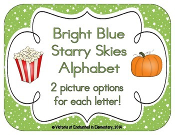 Bright Green Starry Skies Alphabet Cards