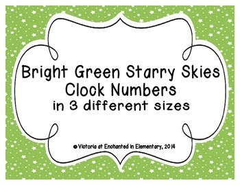 Bright Green Starry Skies Clock Numbers
