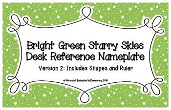 Bright Green Starry Skies Desk Reference Nameplates Version 2