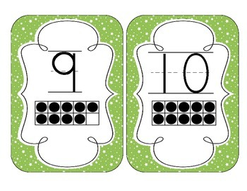 Bright Green Starry Skies Number Cards 1-20
