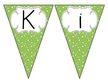 Bright Green Starry Skies Welcome Pennant