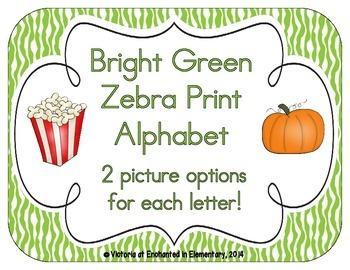 Bright Green Zebra Print Alphabet Cards