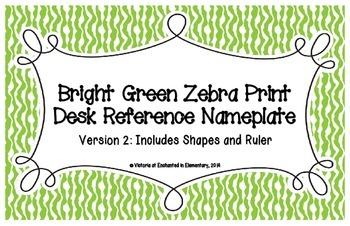 Bright Green Zebra Print Desk Reference Nameplates Version 2