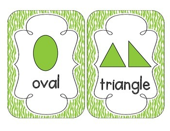 Bright Green Zebra Print Shape Cards