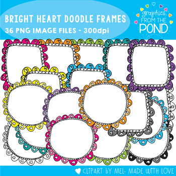 Bright  Heart Doodle Frames - Graphics From the Pond