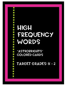 Bright High Frequency Words - Word Wall Cards