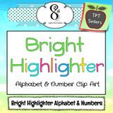 Bright Highlighter Alphabet and Number Clip Art