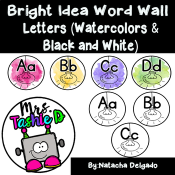 Bright Idea Word Wall Letters (Bright Watercolors & Black and White)