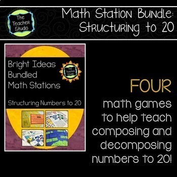 Bright Ideas Bundled Math Stations:  Structuring Skills and Addition to 20