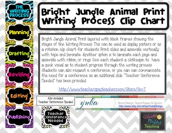 Bright Jungle Animal Print Writing Process Clip Chart