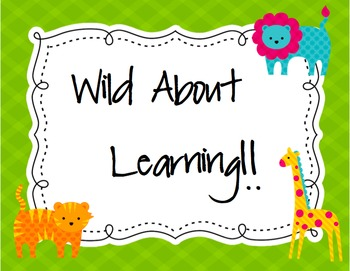 """Bright Jungle Animal Theme-Wild About Learning-""""Colors"""""""