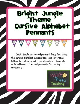Bright Jungle Theme Cursive Pennants
