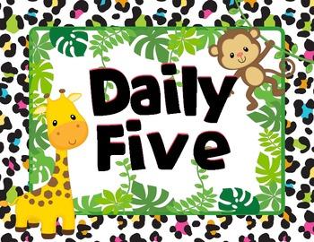 Bright Jungle Theme Daily 5 Rotation Chart