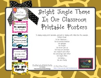 Bright Jungle Theme In Our Classroom Display Posters