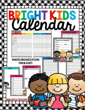 Bright Kids Calendar for 2020-2021 by Red Apple Teacher   TpT