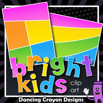 Bright Kids Dotty Segments Backgrounds - Digital Papers with sections