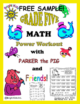 Bright Kids Grade 5 MATH Power Workout - Just Print and TE