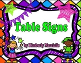 Bright Kids Table Signs