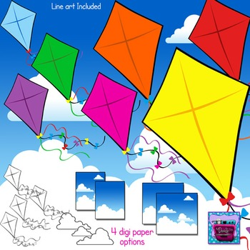 Kites and Clouds Clipart and Sky Digi Paper