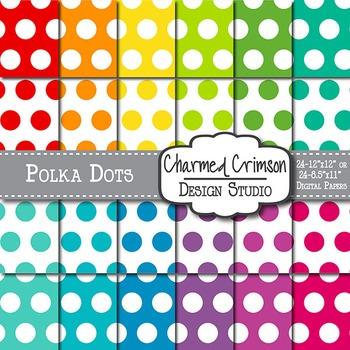 Bright Large Polka Dots Digital Paper 1151