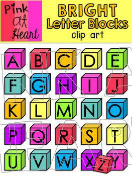 Bright Letter Blocks Clip Art