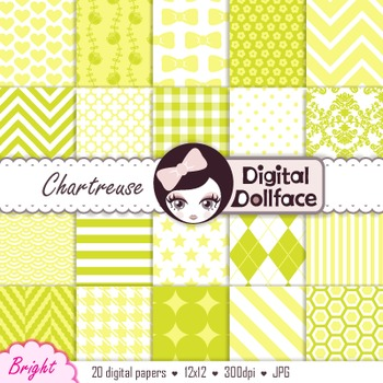 Bright Lime Green / Yellow / Chartreuse Digital Paper; Background Patterns