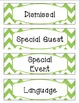 Bright Lime & White Chevron Schedule Cards