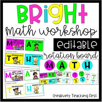 Bright Math Workshop Rotation Board {EDITABLE}