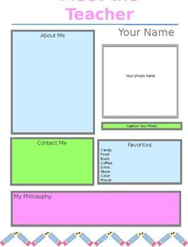 Bright Meet the Teacher Handout-Editable