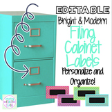 Bright & Modern Editable Filing Cabinet Labels