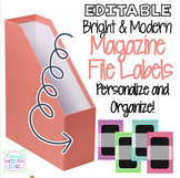 Bright & Modern Edtable Magazine File Labels