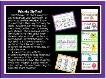 Bright Monsters Behavior Clip Chart