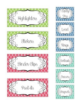 Bright Moroccan Tile Toolbox Labels
