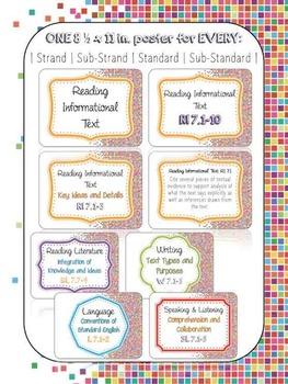 Bright Mosaic 7th Grade ELA CCSS Posters - FUN - Print and Go