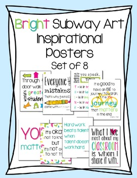 Bright Motivational Classroom Posters {Subway Art}