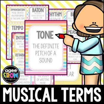Rainbow Theme Flashcards, Wall Cards, Bulletin Board - Music Vocabulary
