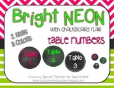 Bright NEON with Chalkboard Flair - Table Numbers