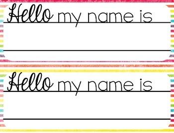 Bright Name Plates Editable {Chevron, Polka Dots, & Stripes}