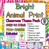 Classroom Theme Decor / Organization - Mega Bundle (Editable!) Neon Animal Print